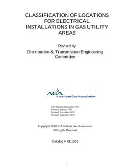 Classifications of Locations for Electrical Installations in Gas Utility Areas, Includes Errata 1 and 2 (2011)